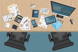 vista superior del espacio de trabajo de planificación empresarial con objetos de oficina vector