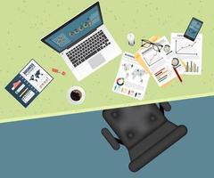 planificación empresarial y análisis de la vista superior vector
