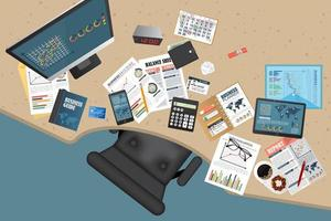 Business planning and auditing top view vector