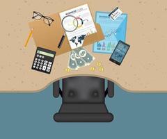 vista superior del espacio de trabajo de planificación empresarial vector
