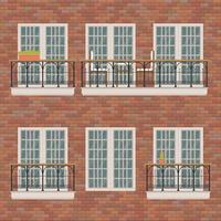 balcones en pared de ladrillo vector