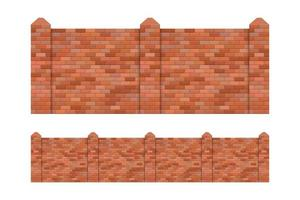 Brick fence set isolated  vector