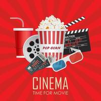 Time for movie poster with cinema items on red