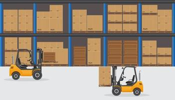 Warehouse with two forklifts  vector