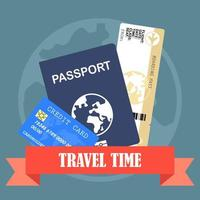 Passport with ticket and travel time banner vector