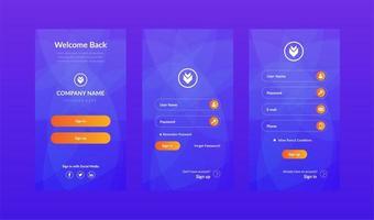 Blue mobile UI kit login and sign up screen set  vector