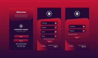 Red Login Screens Set with Account Sign In and Sign Up  vector