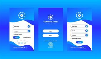 Sign in and sign up screens ui kit set vector