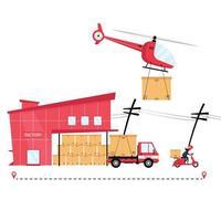 empresa de logística entregando pacotes vetor