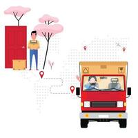empresa de logística entregando pacote vetor