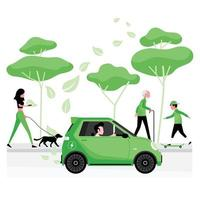 Green or alternative energy with man driving electric car vector