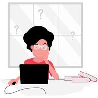 Anxious woman working at laptop  vector