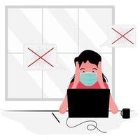 Mujer ansiosa vistiendo mascarilla mirando portátil vector