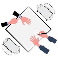Top down teamwork signing document concept