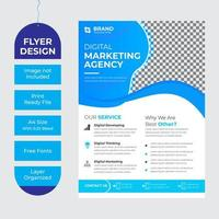 Business flyer with curved blue accents