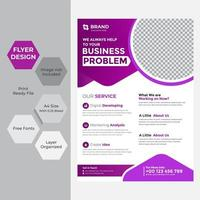 Rounded purple and white business flyer vector