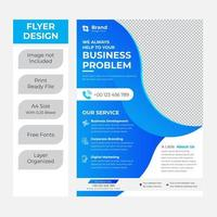 Business flyer template with blue curves on white vector