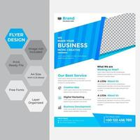 Business flyer in blue and white with angles vector