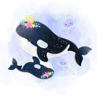 mamá ballena y ballena bebé nadando juntas vector