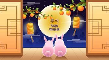 desenho de chuseok feliz com coelhos rosa olhando para a lua