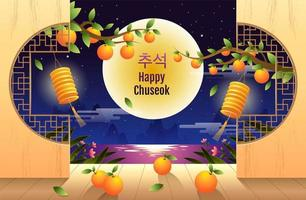 feliz projeto chuseok com ramos de laranja à noite