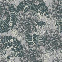 patrón transparente japonés con crisantemos y ventiladores vector