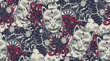 Japanese theme seamless pattern with a Kitsune mask vector