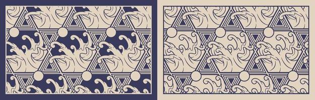 Blue and beige Japanese wave themed seamless patterns vector