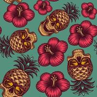 Hawaiian theme pineapple skull and flowers seamless pattern vector