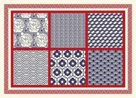 Set of seamless patterns with Asian theme vector