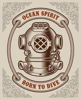 Vintage poster with diving helmet emblem