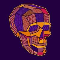 Coloured and patterened lowpoly geometric skull