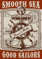 Vintage style nautical poster with anchor vector