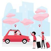 hombre, mujer con equipaje saludando para llamar al servicio de taxi
