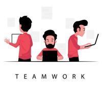 teamwerk voor zaken met een groep mannen met behulp van laptop vector