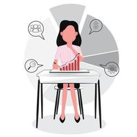 Business Woman Looking at Graph, Analyzing Success