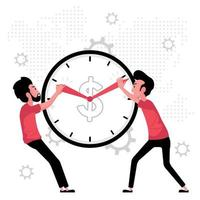 Time Management Concept with Two Men Pulling at Clock Hands vector