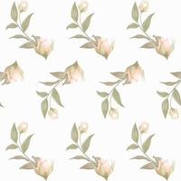 Floral seamless pattern with buds and leaves