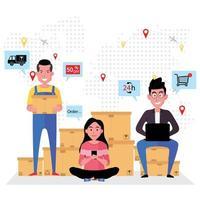 hombre, mujer vendiendo productos online 24-7 con servicio de entrega vector