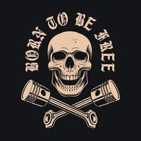 Skull with crossed pistons and lettering vector