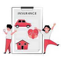 People Standing Next to Chart of Car, House, Heart vector