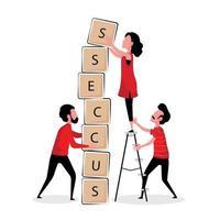 mensen die samenwerken om 'succes'-letterblokken te stapelen vector
