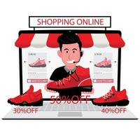 Man Selling Red Shoes Online vector