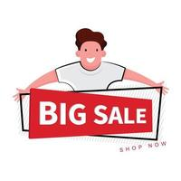 Happy Man Behind ''Big Sale'' Banner
