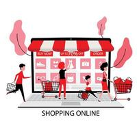 People Order Products on Sale Online from Big Touch Screen vector