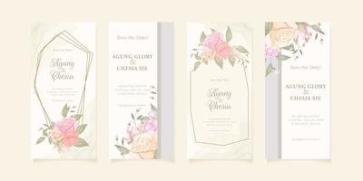 Set of elegant wedding invitation vector