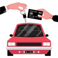 Car Rental Business Hand Giving Key to Another with Credit Card in front of red vehicle vector