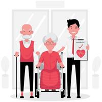Health Insurance for Elderly Couple with Broker Holding Policy vector
