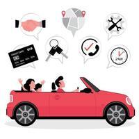 coche familiar con iconos de tarjeta de crédito, llaves, mapa, servicio vector