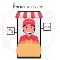 Food Delivery Service with Customer Service Agent Delivering Bag vector
